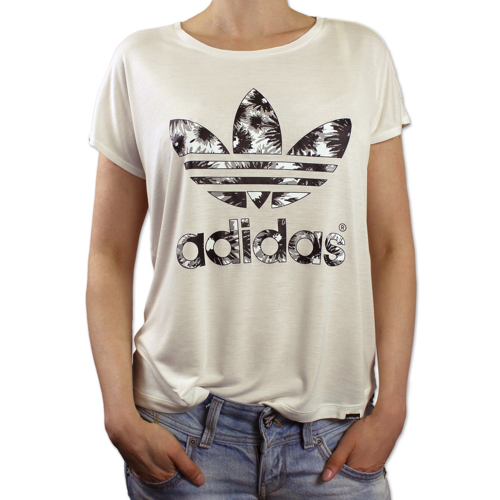 adidas originals trefoil summer daisie logo tee ladies blumenmuster t shirt. Black Bedroom Furniture Sets. Home Design Ideas