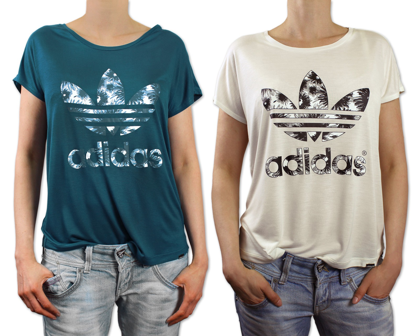 adidas originals trefoil summer daisie logo tee ladies blumenmuster t shirt ebay. Black Bedroom Furniture Sets. Home Design Ideas