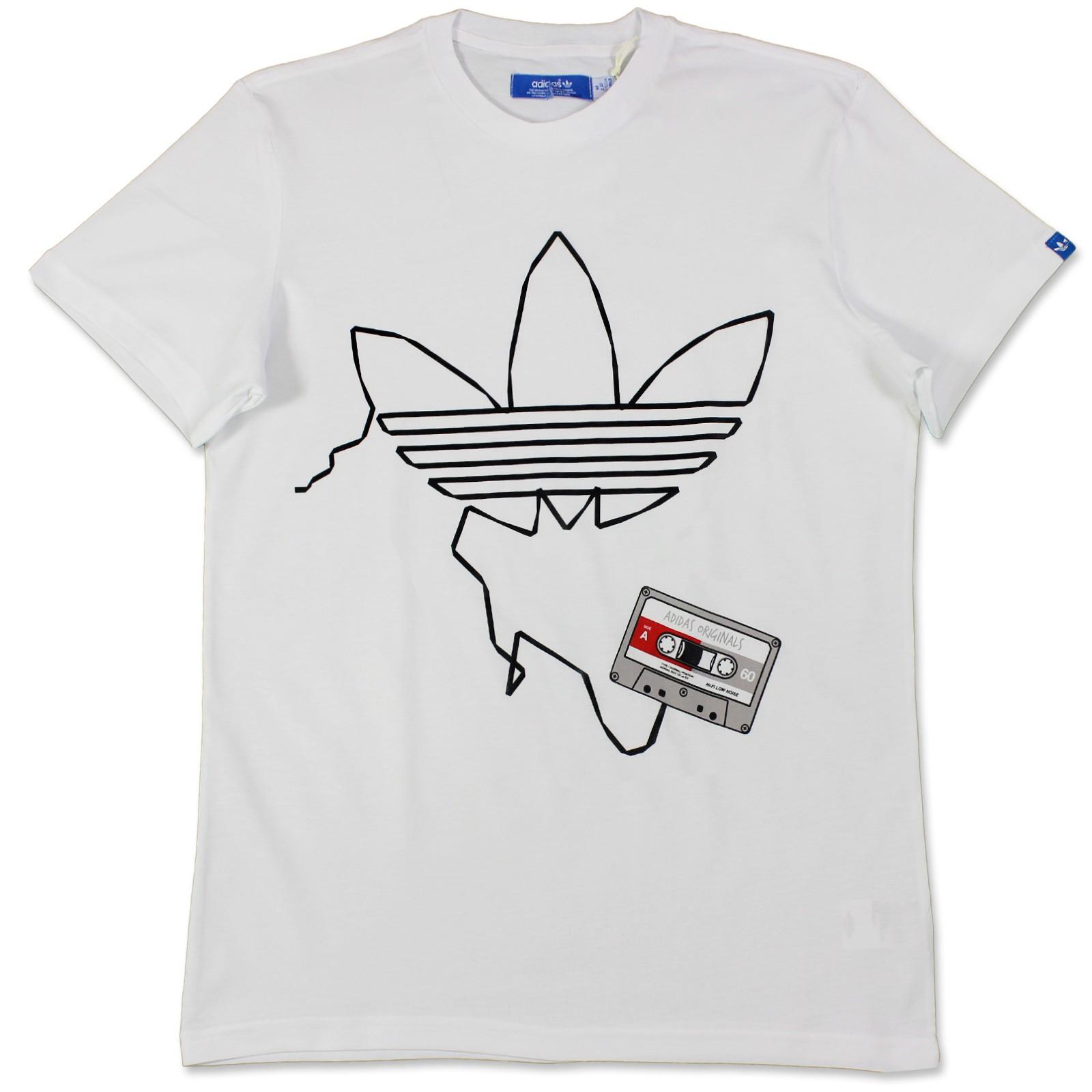 adidas original homme g t shirt trf bande trefoil cassette x34426 blanc l ebay. Black Bedroom Furniture Sets. Home Design Ideas