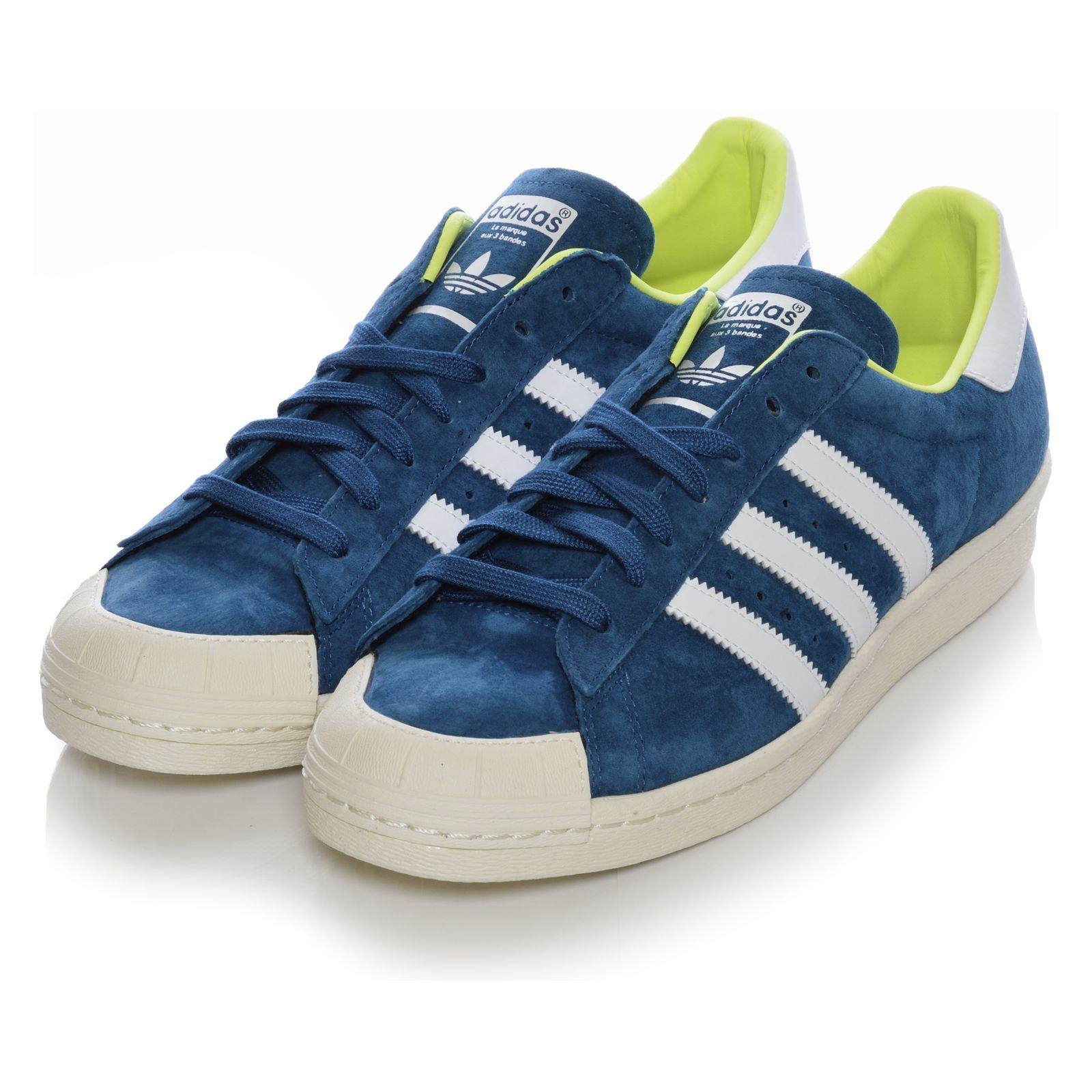 adidas originals superstar 80s halfshell shoes leather sneakers blue 38 2 3 ebay. Black Bedroom Furniture Sets. Home Design Ideas