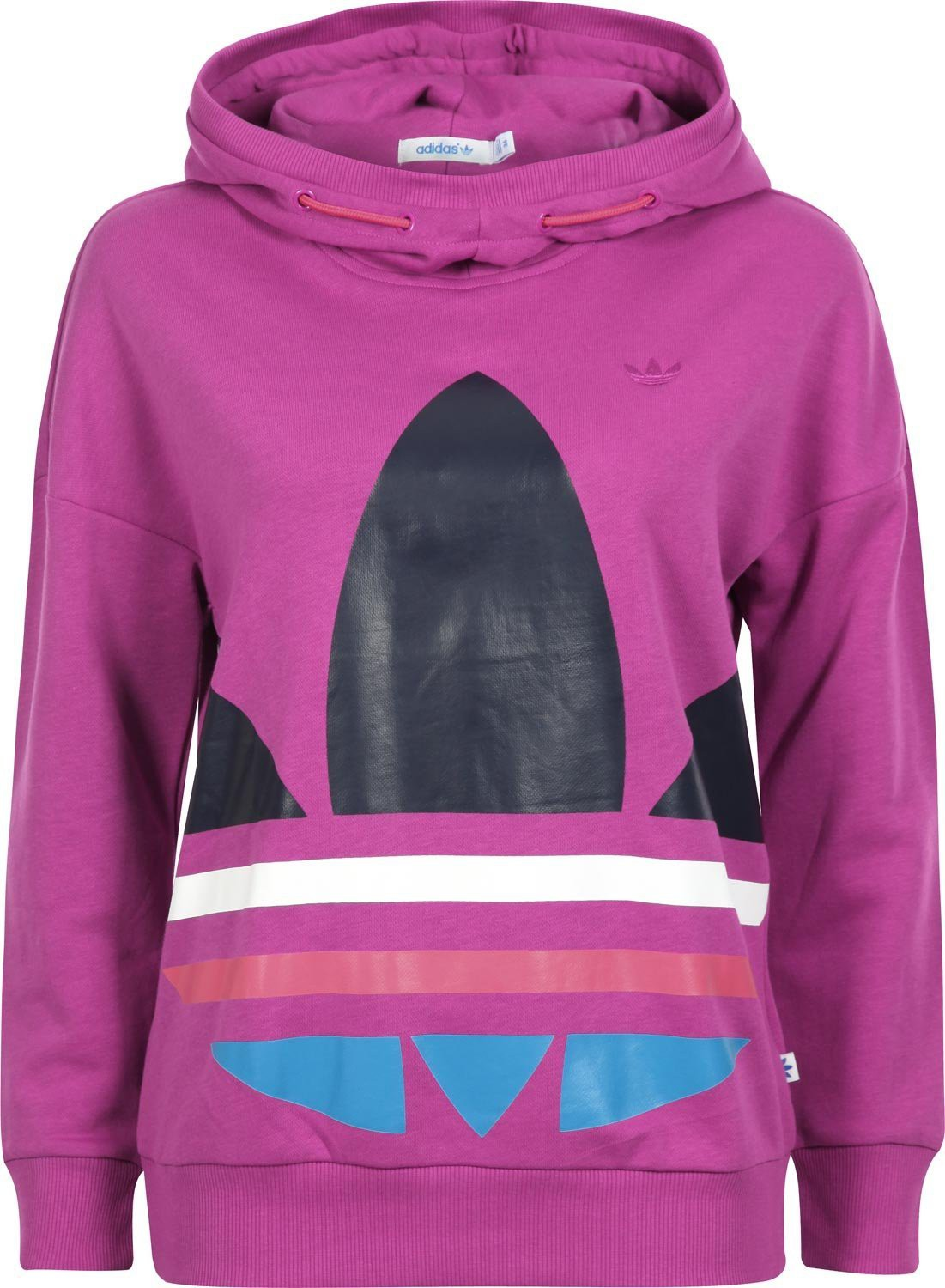 adidas originals big trefoil oversize hoodie hoodie sweatshirt fuchsia purple 38 ebay. Black Bedroom Furniture Sets. Home Design Ideas