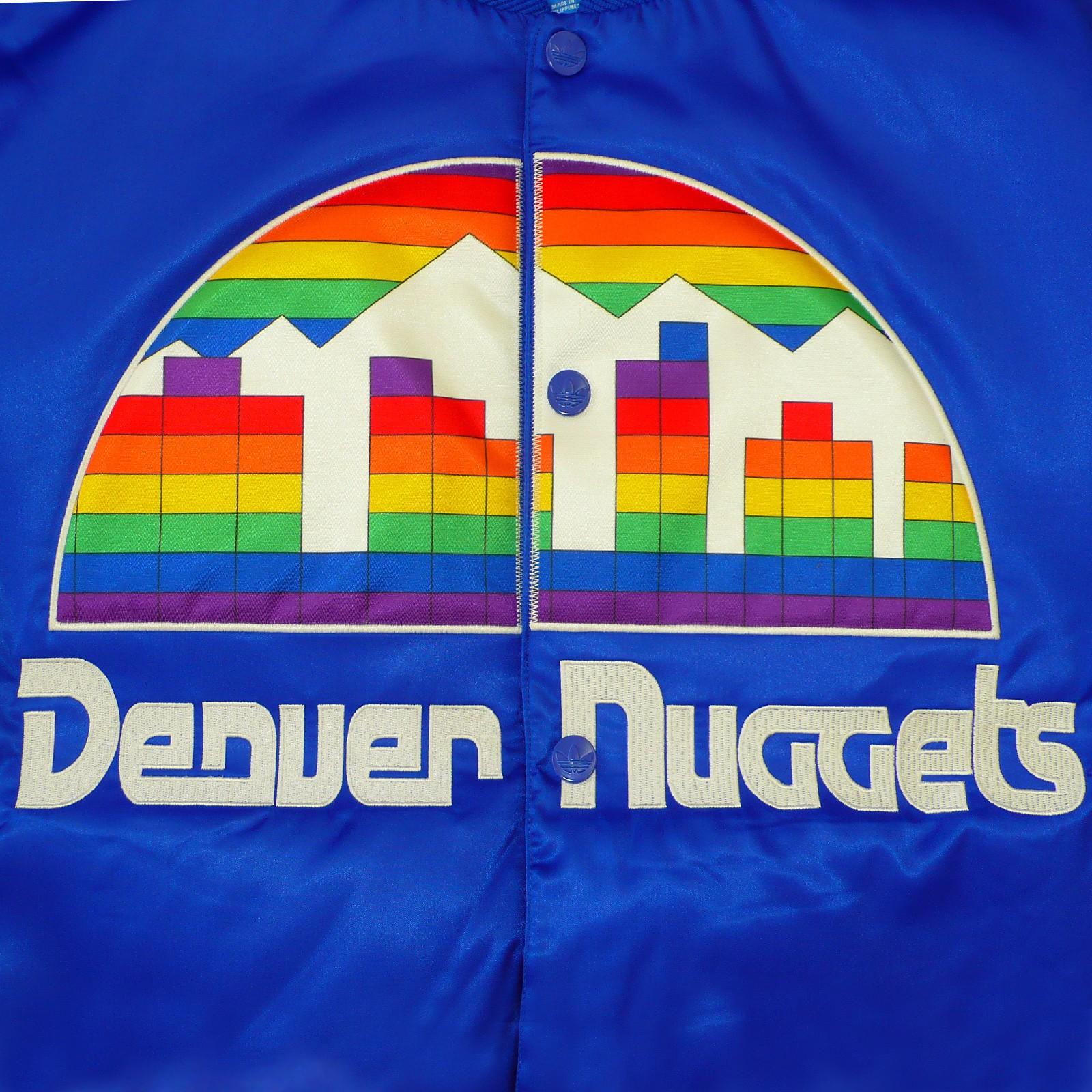 Adidas Denver Nuggets 3 Stripe Jacket: ADIDAS ORIGINALS NBA DENVER NUGGETS MEN'S JACKET PADDED