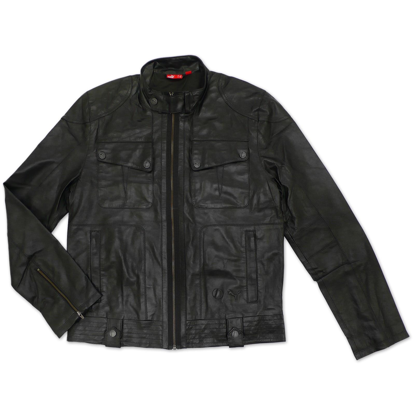 puma ducati men's real leather jacket black biker jacket new