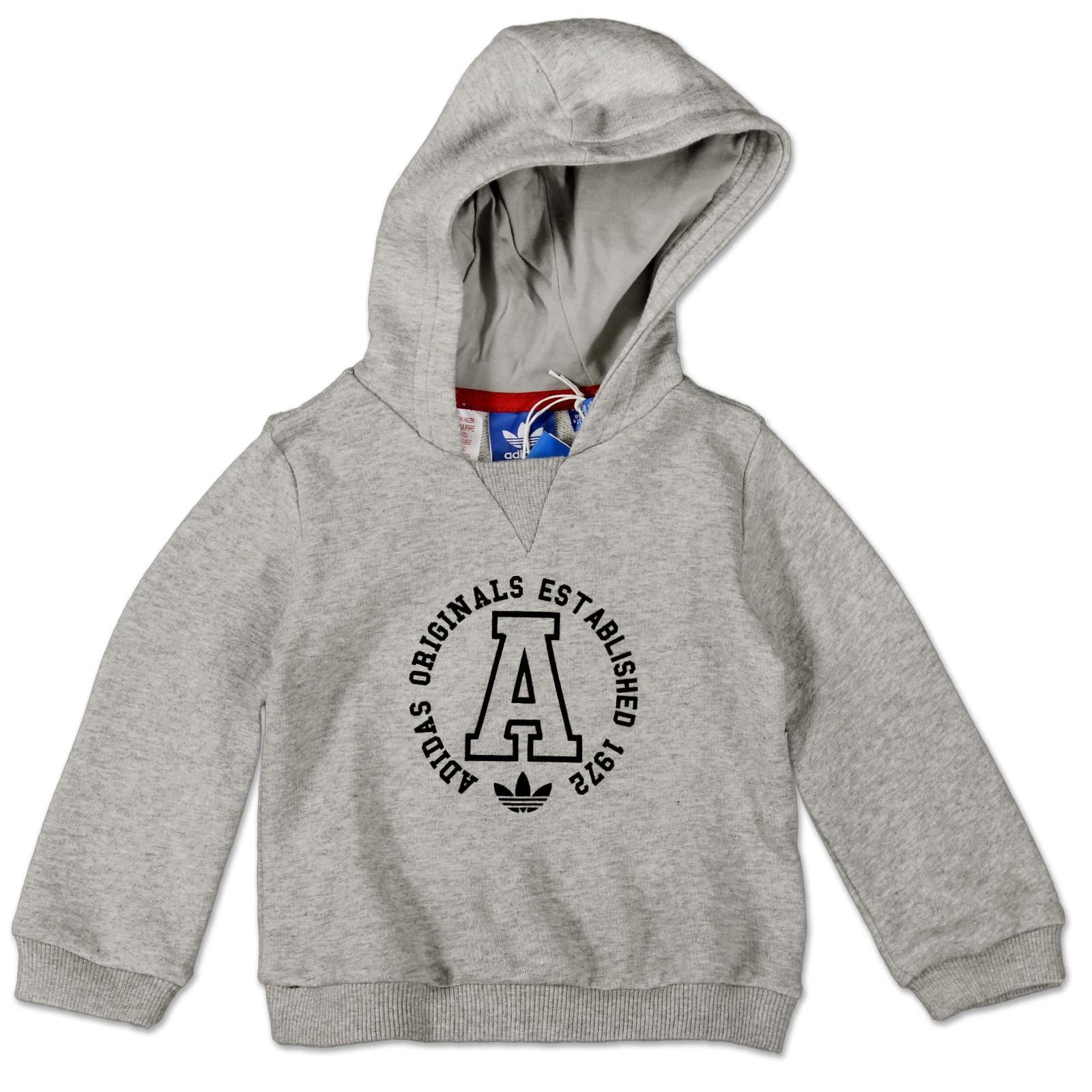 adidas originals kinder kapuzen pullover hoodie sweatshirt trefoil hoody grau kinder jacken. Black Bedroom Furniture Sets. Home Design Ideas