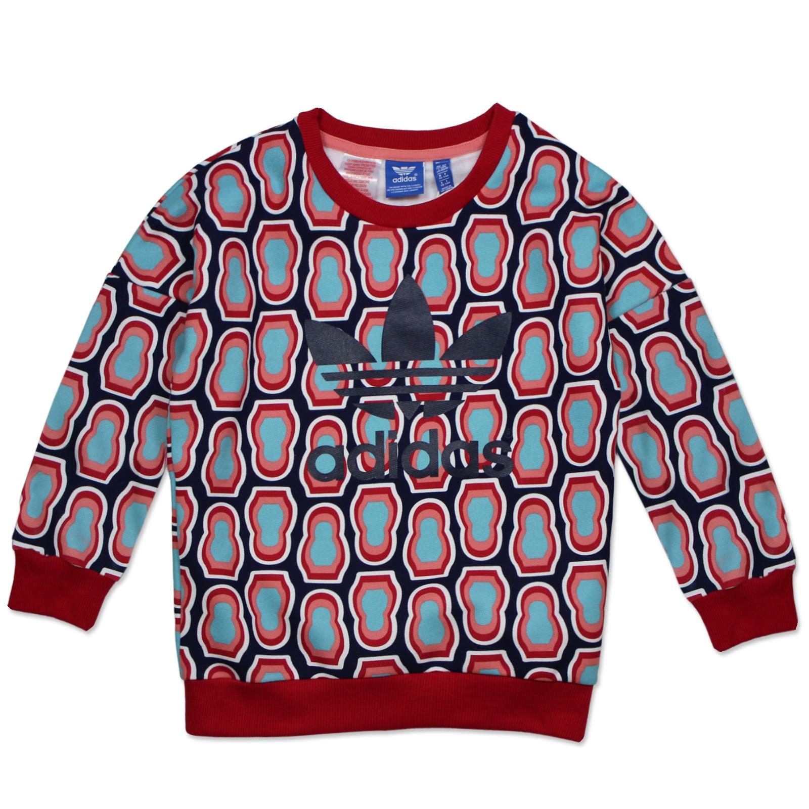 adidas originals all over print trefoil kinder crew sweatshirt m dchen bunt kinder sweatshirts. Black Bedroom Furniture Sets. Home Design Ideas