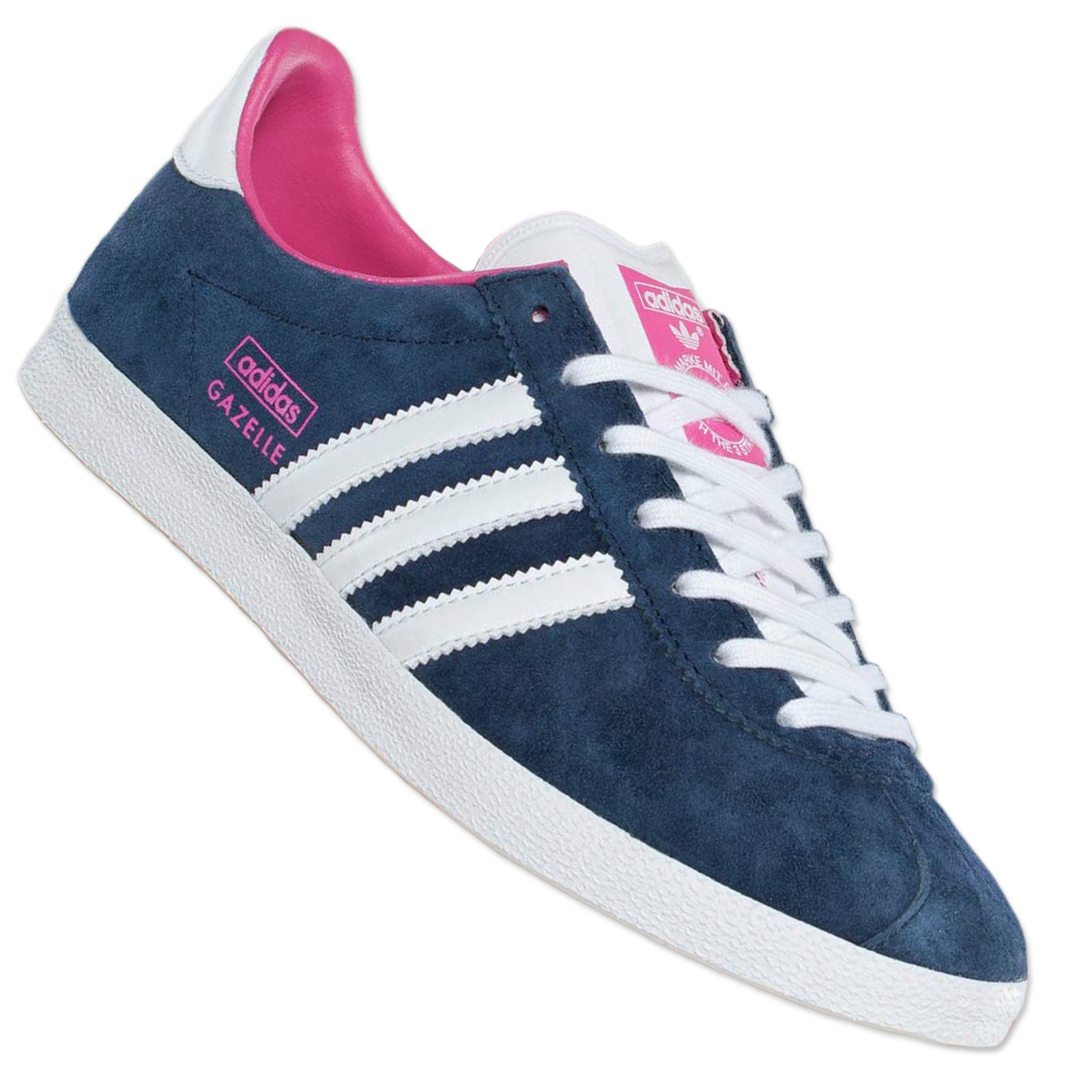 Adidas Originals Gazelle Trainers v25020 Wild Leather Shoes Samba Navy Blue  Pink | eBay