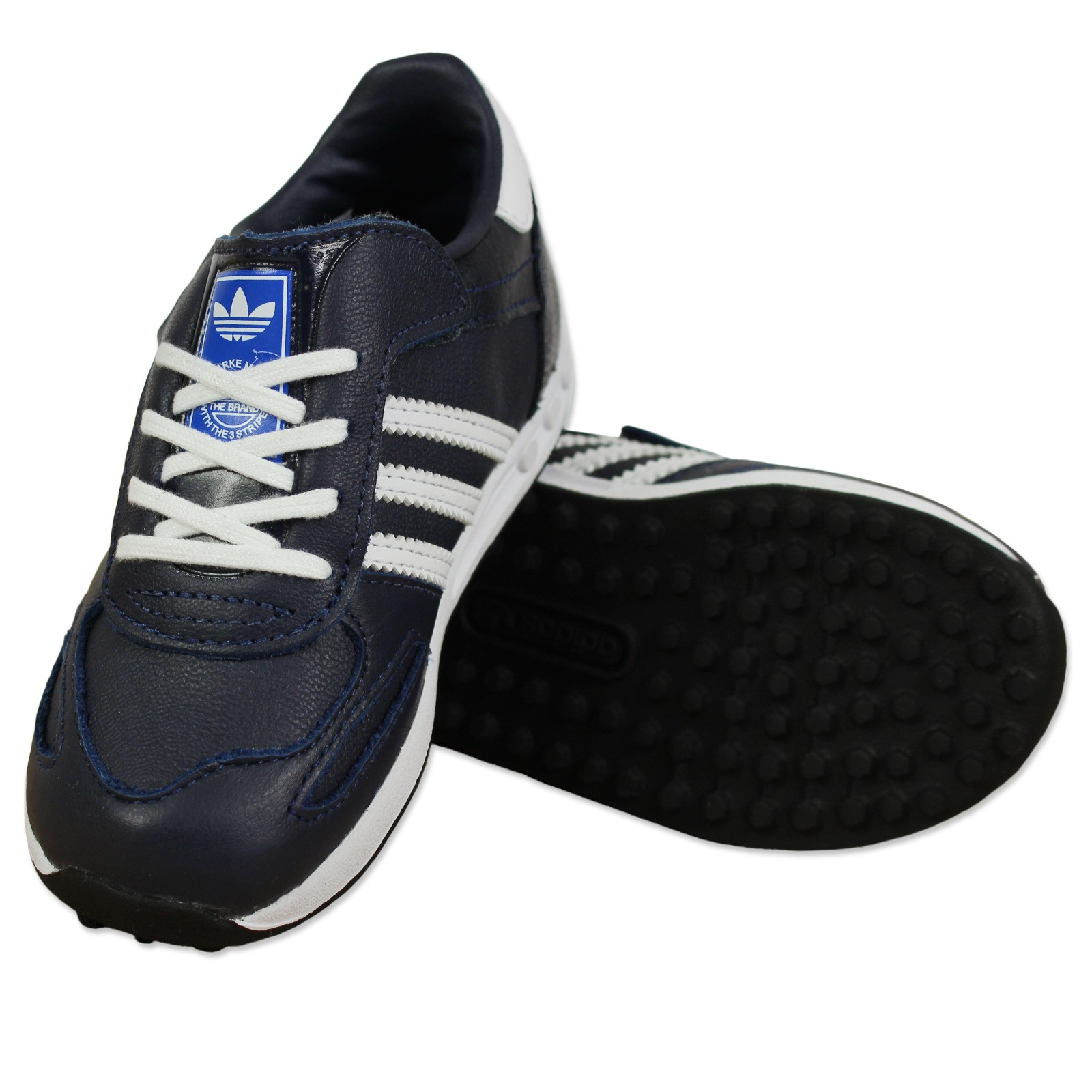 adidas originals la trainer kinder sneaker schuhe legink blau weiss leder kinder schuhe. Black Bedroom Furniture Sets. Home Design Ideas