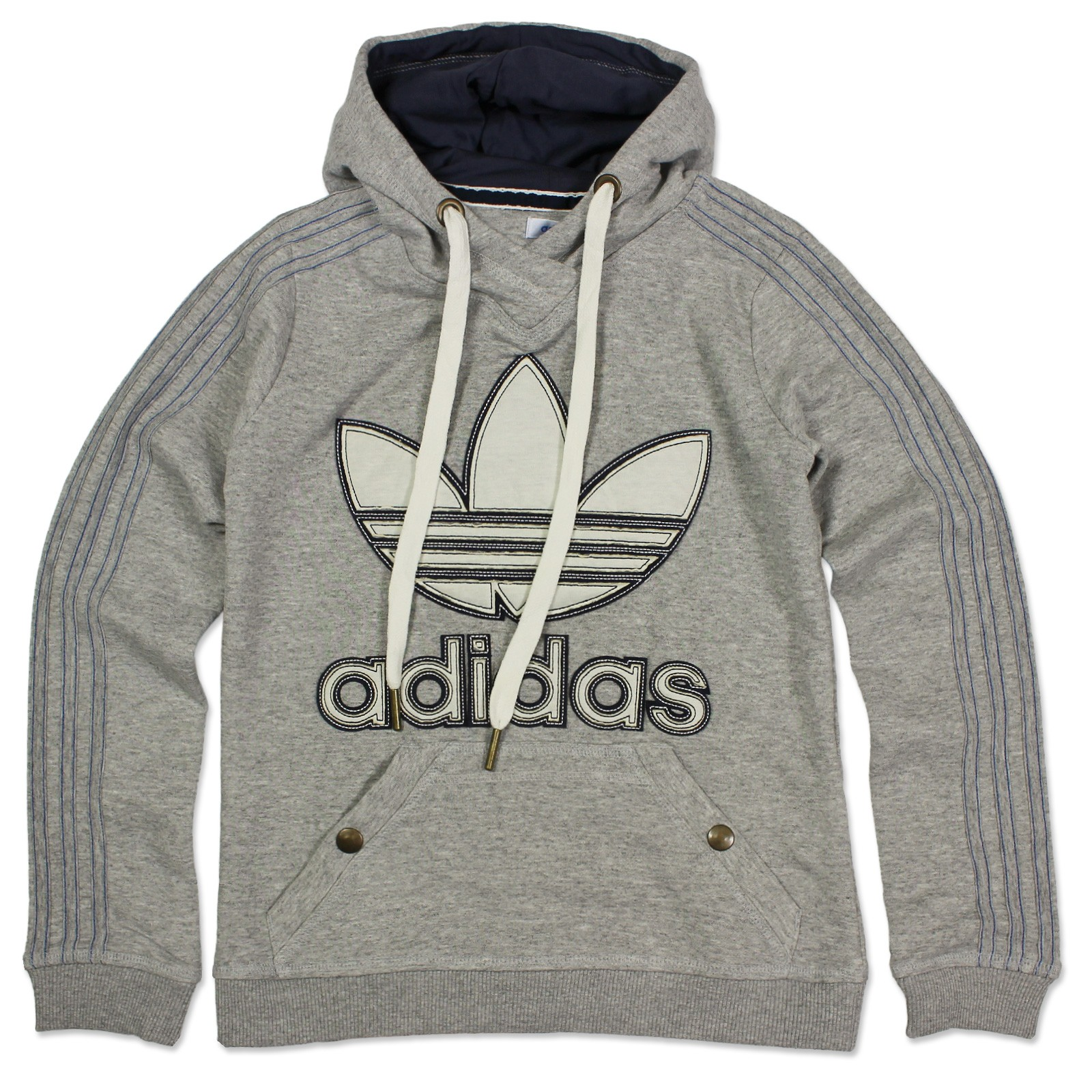 adidas originals adi trefoil ladies hooded sweater jumper sweatshirt hoody grey ebay. Black Bedroom Furniture Sets. Home Design Ideas
