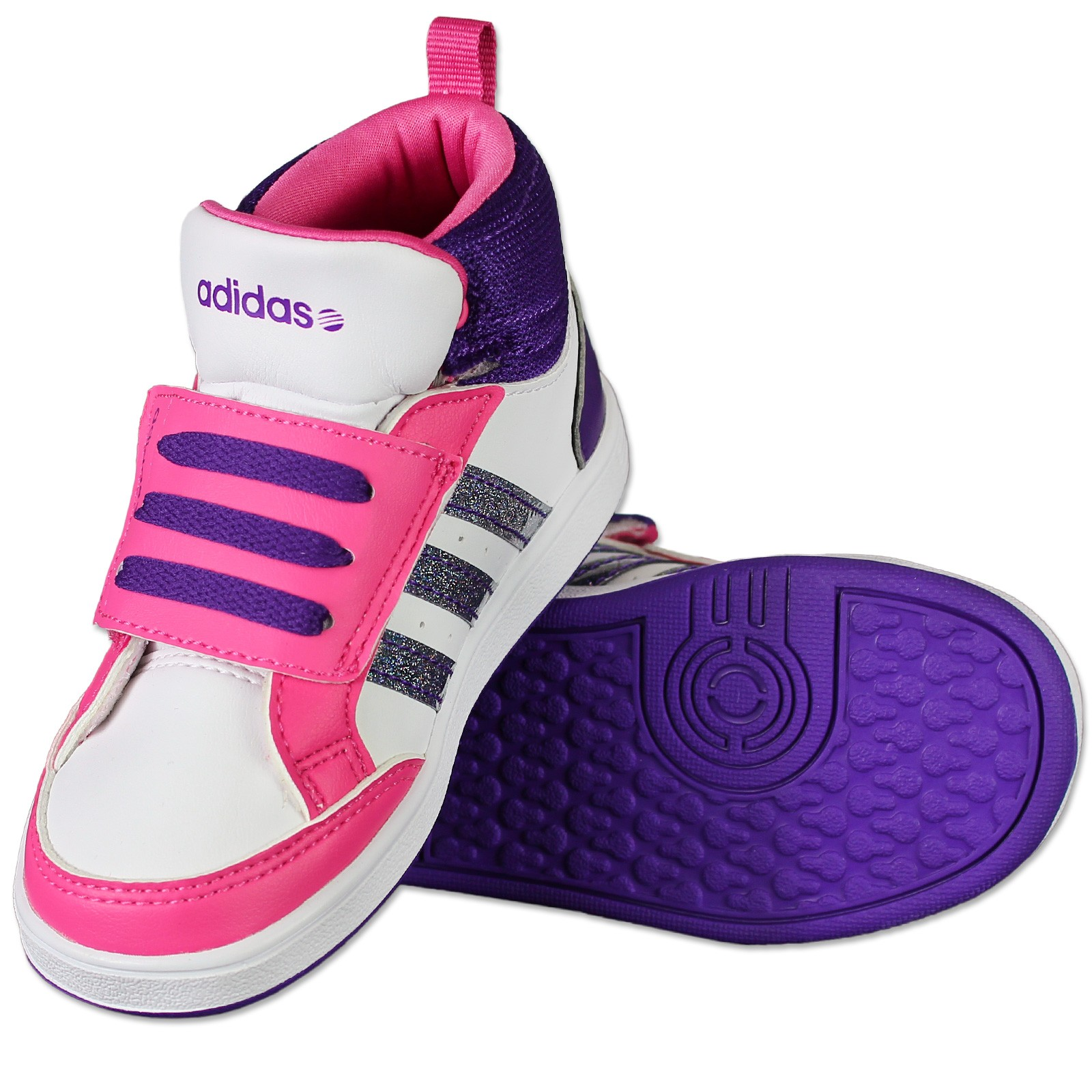 adidas neo hoops mid kinderschuhe baby schuhe f97857 glitzer weiss pink lila 26 ebay. Black Bedroom Furniture Sets. Home Design Ideas
