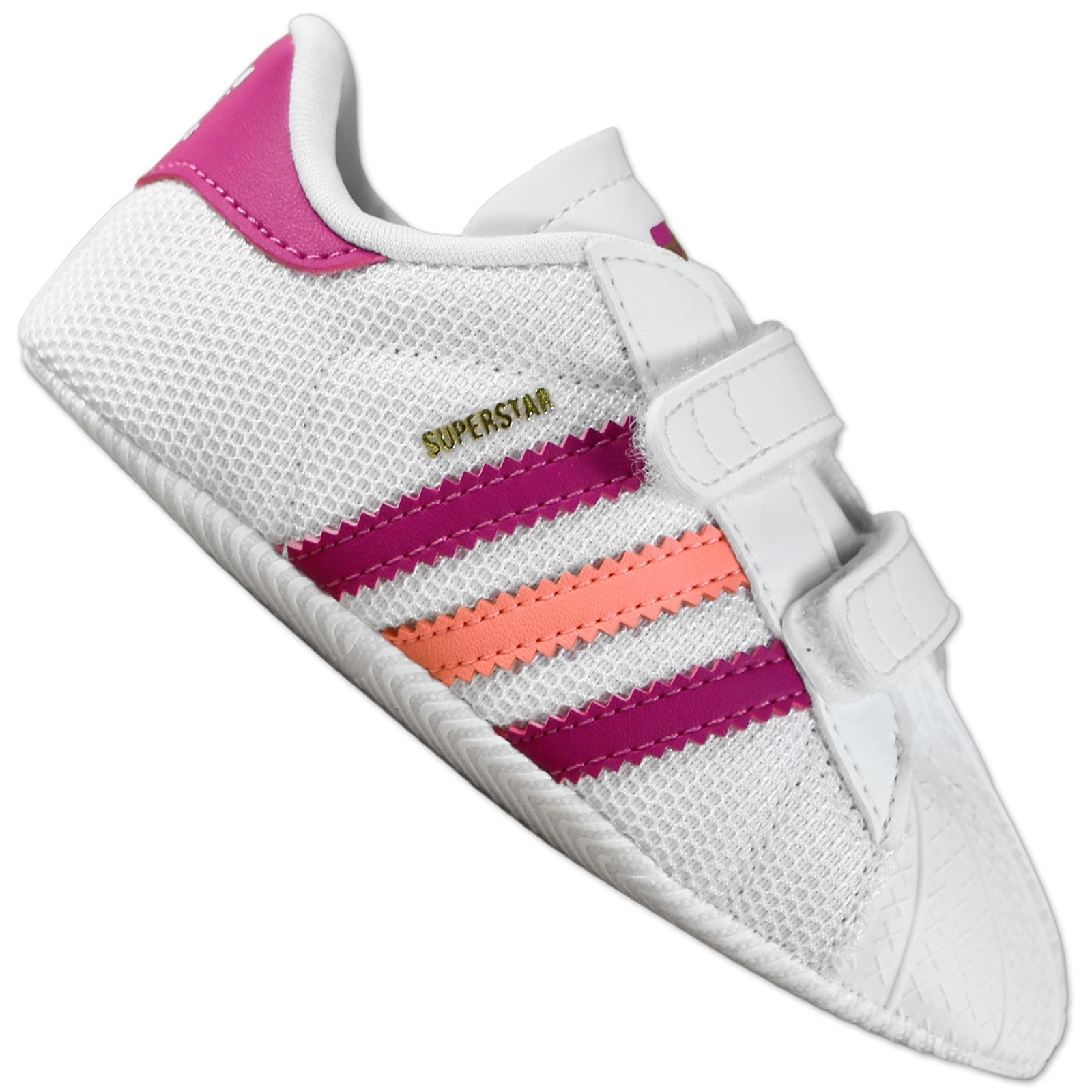 adidas superstar 2 crib baby sneaker krabbel schuhe weiss rosa pink gr 17 18 ebay. Black Bedroom Furniture Sets. Home Design Ideas