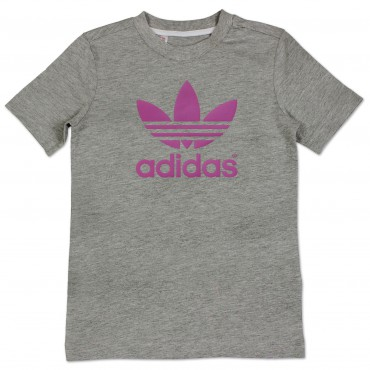 ADIDAS ORIGINALS Junior Trefoil Shirt - grau/lila – Bild 1