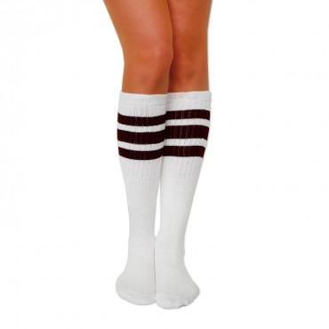 "SKATERSOCKS USA Tube Socks 22"" - weiß/braun – Bild 1"