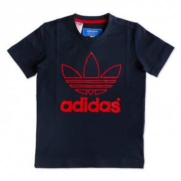 ADIDAS ORIGINALS Junior Trefoil Shirt - grau/rot – Bild 1